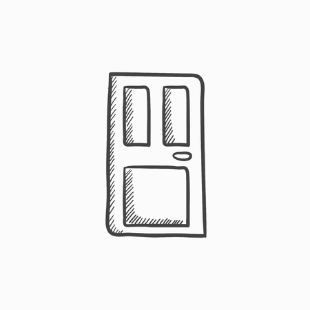 Front Door Vector Sketch Icon Isolated On Background Hand Drawn