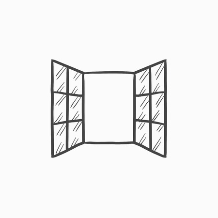 open windows: Open windows vector sketch icon isolated on background. Hand drawn Open windows icon. Open windows sketch icon for infographic, website or app.