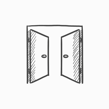 double entry: Open doors vector sketch icon isolated on background. Hand drawn Open doors icon. Open doors sketch icon for infographic, website or app.