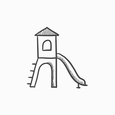 Playground with slide vector sketch icon isolated on background. Hand drawn Playground with slide icon. Playground with slide sketch icon for infographic, website or app. Illustration