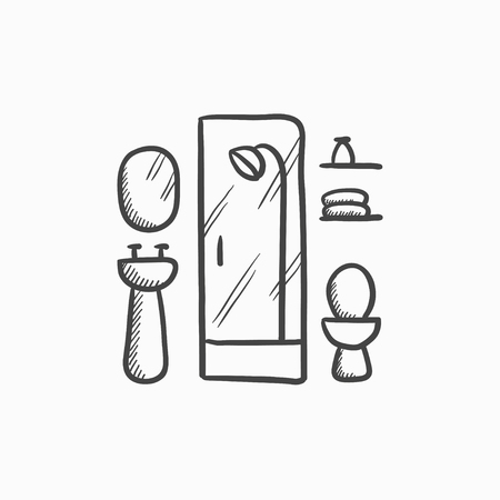 washstand: Bathroom vector sketch icon isolated on background. Hand drawn Bathroom icon. Bathroom sketch icon for infographic, website or app. Illustration