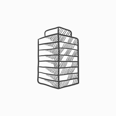 building sketch: Office building vector sketch icon isolated on background. Hand drawn Office building icon. Office building sketch icon for infographic, website or app.