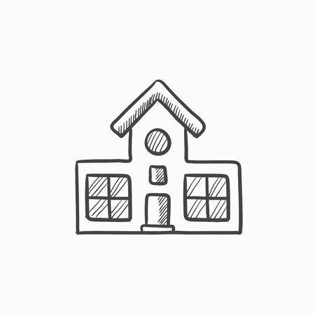 building sketch: Building vector sketch icon isolated on background. Hand drawn Building icon. Building sketch icon for infographic, website or app.