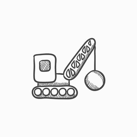 raze: Demolition crane vector sketch icon isolated on background. Hand drawn Demolition crane icon. Demolition crane sketch icon for infographic, website or app.