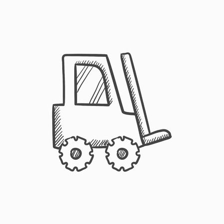 Forklift vector sketch icon isolated on background. Hand drawn Forklift icon. Forklift sketch icon for infographic, website or app. Vectores