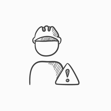 Worker with caution sign vector sketch icon isolated on background. Hand drawn Worker with caution sign icon. Worker with caution sign sketch icon for infographic, website or app. Vektorové ilustrace