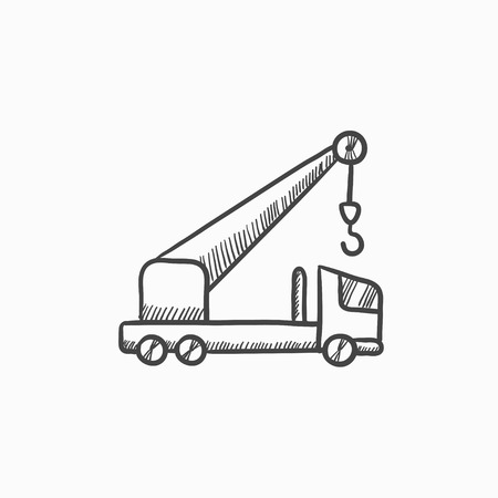car hoist: Mobile crane vector sketch icon isolated on background. Hand drawn Mobile crane icon. Mobile crane sketch icon for infographic, website or app.