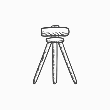 leveler: Theodolite on tripod vector sketch icon isolated on background. Hand drawn Theodolite on tripod icon. Theodolite on tripod sketch icon for infographic, website or app.