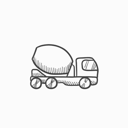 hand truck: Concrete mixer truck vector sketch icon isolated on background. Hand drawn Concrete mixer truck icon. Concrete mixer truck sketch icon for infographic, website or app. Illustration