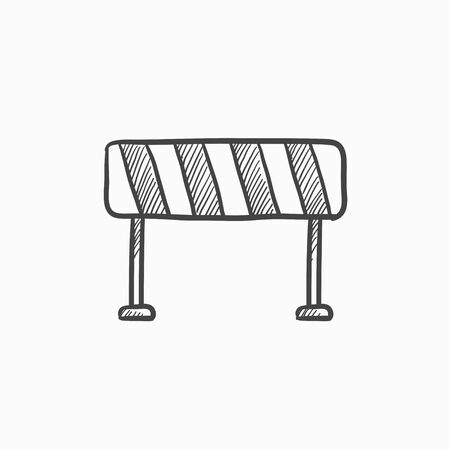 Road barrier vector sketch icon isolated on background. Hand drawn Road barrier icon. Road barrier sketch icon for infographic, website or app. Ilustração Vetorial