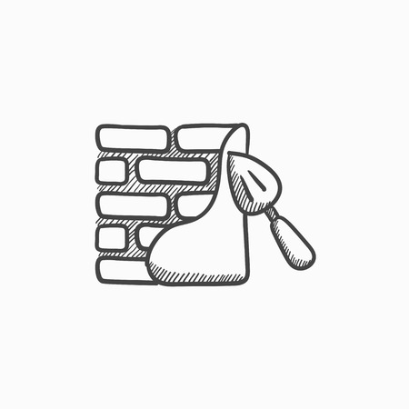 row houses: Spatula with brickwall vector sketch icon isolated on background. Hand drawn Spatula with brickwall icon. Spatula with brickwall sketch icon for infographic, website or app.