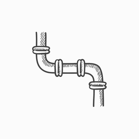 coupling: Water pipeline vector sketch icon isolated on background. Hand drawn Water pipeline icon. Water pipeline sketch icon for infographic, website or app.