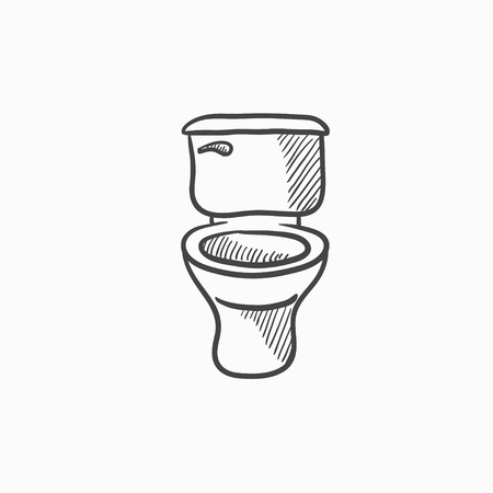 lavatory: Lavatory bowl vector sketch icon isolated on background. Hand drawn Lavatory bowl icon. Lavatory bowl sketch icon for infographic, website or app.