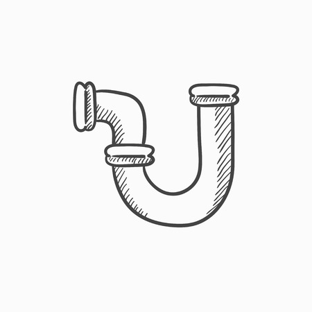 Water pipeline vector sketch icon isolated on background. Hand drawn Water pipeline icon. Water pipeline sketch icon for infographic, website or app.