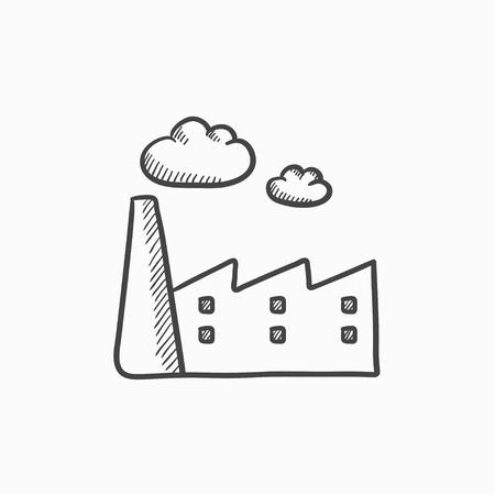 vettore fabbrica icona dello schizzo isolato su sfondo. Disegnata a mano icona di fabbrica. icona dello schizzo di fabbrica per infografica, sito web o un'applicazione.