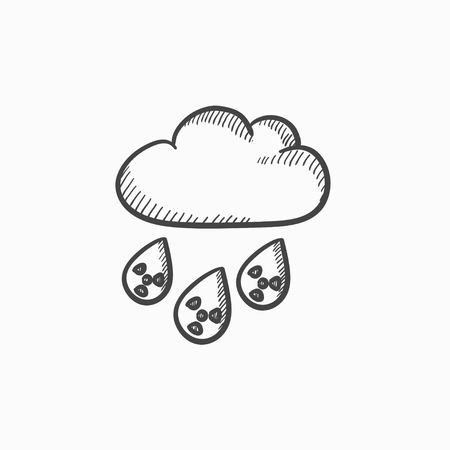 precipitation: Radioactive cloud and rain vector sketch icon isolated on background. Hand drawn Radioactive cloud and rain icon. Radioactive cloud and rain sketch icon for infographic, website or app. Illustration