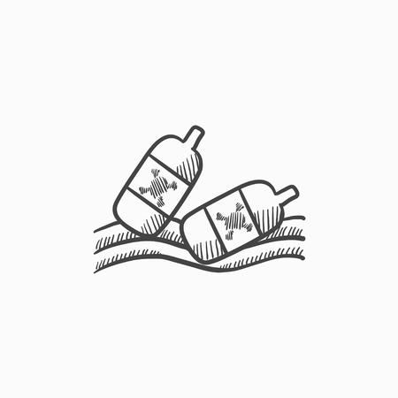 背景に分離された水ベクター スケッチ アイコンに浮かんでいるボトル。手描きのボトル水アイコンに浮かぶ。水に浮かんでいるボトルは、インフォ  イラスト・ベクター素材