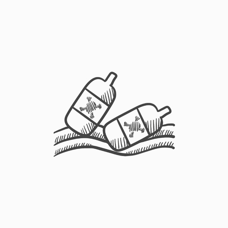 Bottles floating in water vector sketch icon isolated on background. Hand drawn Bottles floating in water icon. Bottles floating in water sketch icon for infographic, website or app. Ilustração