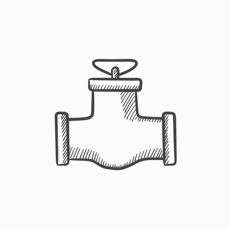 stopcock: Gas pipe valve vector sketch icon isolated on background. Hand drawn Gas pipe valve icon. Gas pipe valve sketch icon for infographic, website or app.