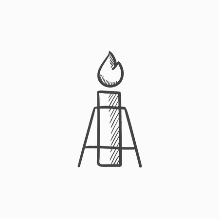 greenhouse gas: Gas flare vector sketch icon isolated on background. Hand drawn Gas flare icon. Gas flare sketch icon for infographic, website or app. Illustration