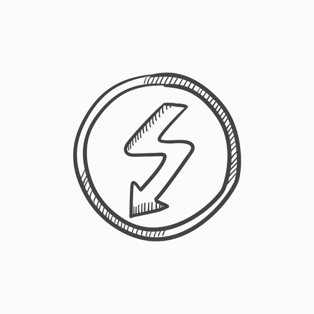 lightning arrow: Lightning arrow downward vector sketch icon isolated on background. Hand drawn Lightning arrow downward icon. Lightning arrow downward sketch icon for infographic, website or app.