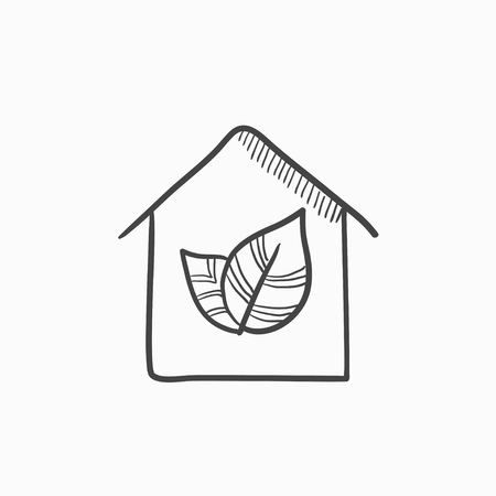 condo: Eco-friendly house vector sketch icon isolated on background. Hand drawn Eco-friendly house icon. Eco-friendly house sketch icon for infographic, website or app.