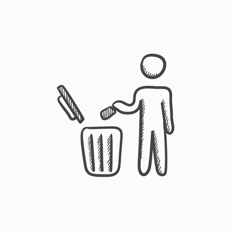 garbage man: Man throwing garbage in a bin vector sketch icon isolated on background. Hand drawn Man throwing garbage in a bin icon. Man throwing garbage in a bin sketch icon for infographic, website or app.