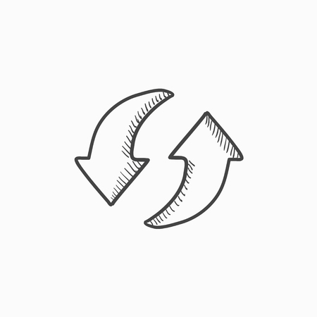 circling: Two circular arrows vector sketch icon isolated on background. Hand drawn Two circular arrows icon. Two circular arrows sketch icon for infographic, website or app.