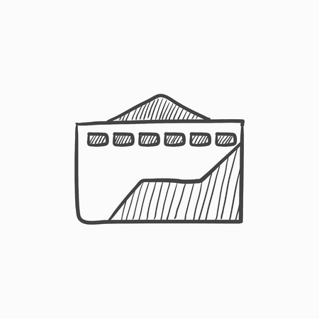 ecological damage: Factory vector sketch icon isolated on background. Hand drawn Factory icon. Factory sketch icon for infographic, website or app.