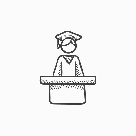 tribune: Graduate standing at the tribune vector sketch icon isolated on background. Hand drawn Graduate standing at the tribune icon. Graduate at the tribune sketch icon for infographic, website or app.