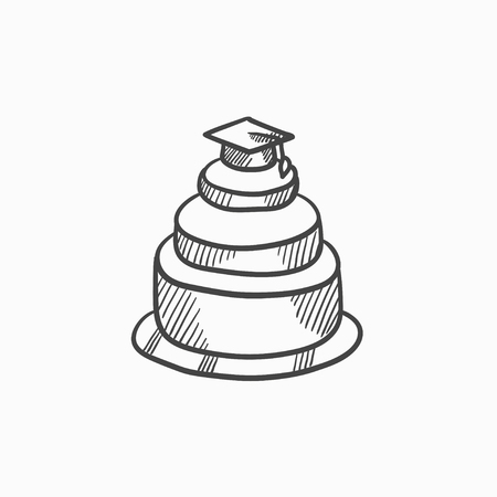 Graduation cap on top of cake vector sketch icon isolated on background. Hand drawn Graduation cap on top of cake icon. Graduation cap on top of cake sketch icon for infographic, website or app. Illustration