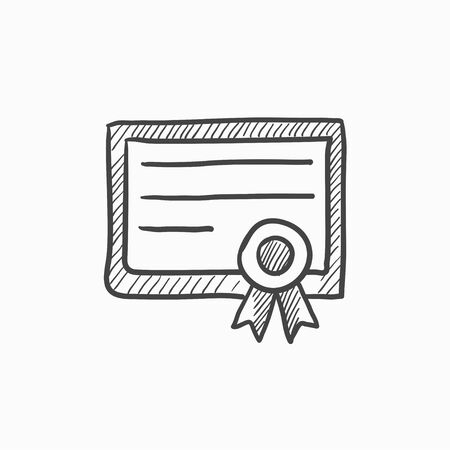 school bills: Certificate vector sketch icon isolated on background. Hand drawn Certificate icon. Certificate sketch icon for infographic, website or app. Illustration