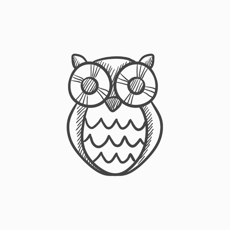 scholar: Owl vector sketch icon isolated on background. Hand drawn Owl icon. Owl sketch icon for infographic, website or app. Illustration