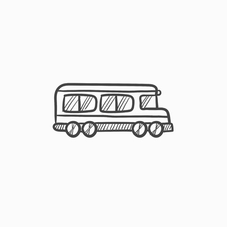 schoolbus: School bus vector sketch icon isolated on background. Hand drawn School bus icon. School bus sketch icon for infographic, website or app. Illustration