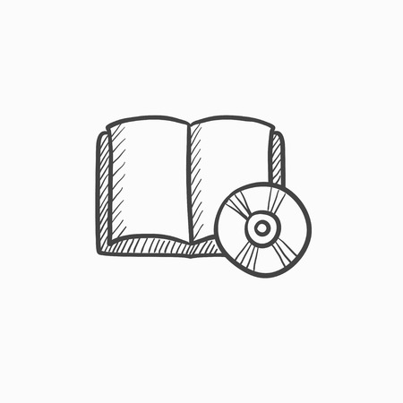 audiobook: Audiobook and cd disc vector sketch icon isolated on background. Hand drawn Audiobook and cd disc icon. Audiobook and cd disc sketch icon for infographic, website or app.