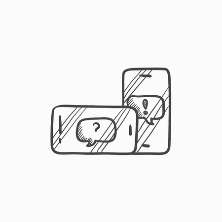 electronic device: Smartphones with speech squares vector sketch icon isolated on background. Hand drawn smartphones with speech squares icon. Smartphones with speech squares sketch icon for infographic, website or app. Illustration