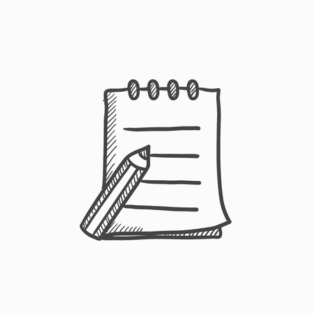 writing pad: Writing pad and pen vector sketch icon isolated on background. Hand drawn Writing pad and pen icon. Writing pad and pen sketch icon for infographic, website or app.