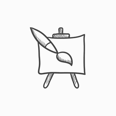 easel: Easel and paint brush vector sketch icon isolated on background. Hand drawn Easel and paint brush icon. Easel and paint brush sketch icon for infographic, website or app.