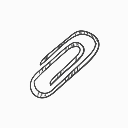 Clip vector sketch icon isolated on background. Hand drawn Clip icon. Clip sketch icon for infographic, website or app.