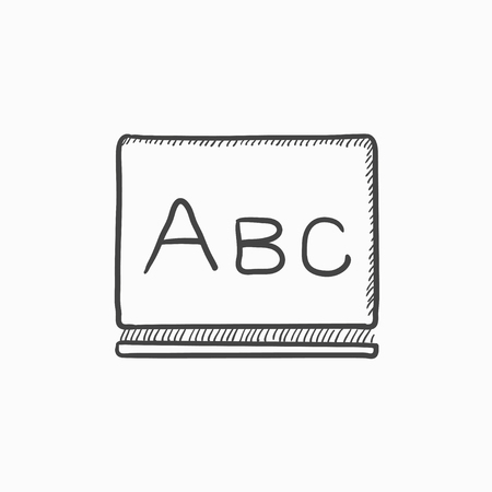 Letters abc on blackboard vector sketch icon isolated on background. Hand drawn Letters abc on blackboard icon. Letters abc on blackboard sketch icon for infographic, website or app. Çizim