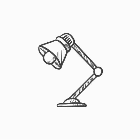 lamplight: Table lamp vector sketch icon isolated on background. Hand drawn Table lamp icon. Table lamp sketch icon for infographic, website or app.