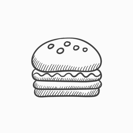 ハンバーガー ベクター スケッチ アイコンを背景に分離します。手描きハンバーガー アイコン。インフォ グラフィック、web サイトまたはアプリケ