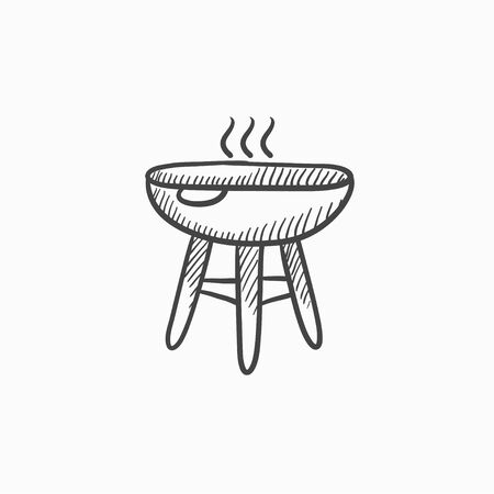Kettle barbecue grill vector sketch icon isolated on background. Hand drawn Kettle barbecue grill icon. Kettle barbecue grill sketch icon for infographic, website or app. Stock Vector - 61055044