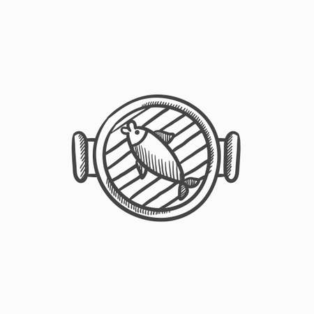 mediterranean diet: Fish on grill vector sketch icon isolated on background. Hand drawn Fish on grill icon. Fish on grill sketch icon for infographic, website or app.