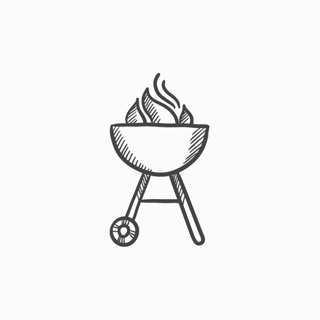Kettle barbecue grill vector sketch icon isolated on background. Hand drawn Kettle barbecue grill icon. Kettle barbecue grill sketch icon for infographic, website or app. Ilustrace