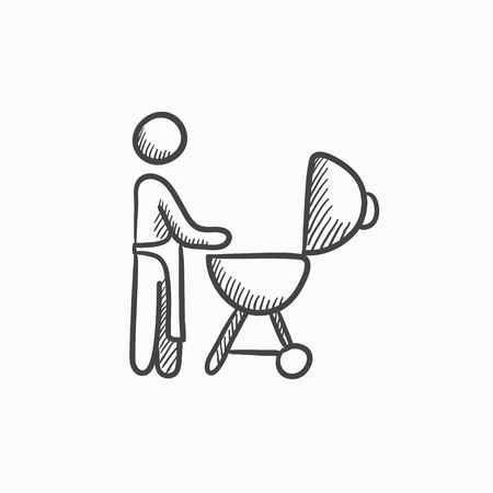 Man at barbecue grill vector sketch icon isolated on background. Hand drawn Man at barbecue grill icon. Man at barbecue grill sketch icon for infographic, website or app.