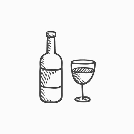 brandy: Bottle of wine vector sketch icon isolated on background. Hand drawn Bottle of wine icon. Bottle of wine sketch icon for infographic, website or app. Illustration