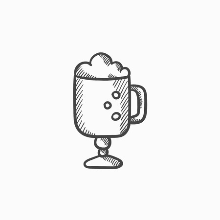 suds: Glass mug with foam vector sketch icon isolated on background. Hand drawn Glass mug with foam icon. Glass mug with foam sketch icon for infographic, website or app.