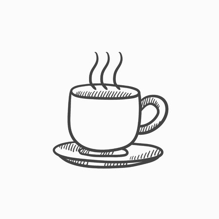 teaparty: Cup of hot drink vector sketch icon isolated on background. Hand drawn Cup of hot drink icon. Cup of hot drink sketch icon for infographic, website or app.