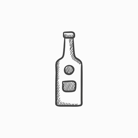 brandy: Glass bottle vector sketch icon isolated on background. Hand drawn Glass bottle icon. Glass bottle sketch icon for infographic, website or app.